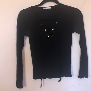 Long sleeve lace up top